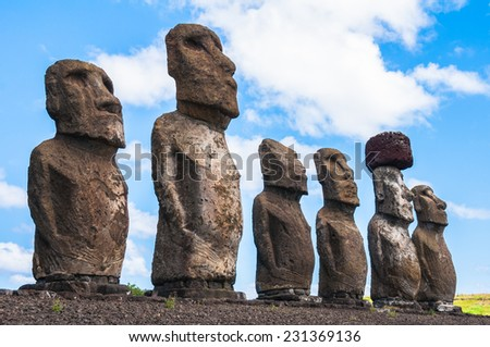 Moais in Ahu Tongariki, Easter island (Chile) - stock photo