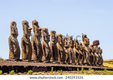 Moais in Ahu Tongariki, Easter island, Chile. UNESCO World Heritge - stock photo