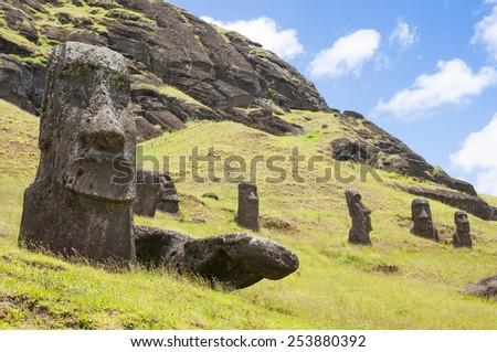 Moais of Rano Raraku volcano, Easter island (Chile) - stock photo