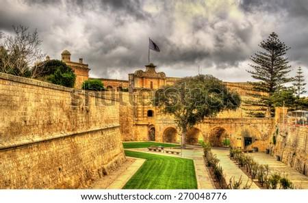 Moat of the ancient city of Mdina - Malta - stock photo