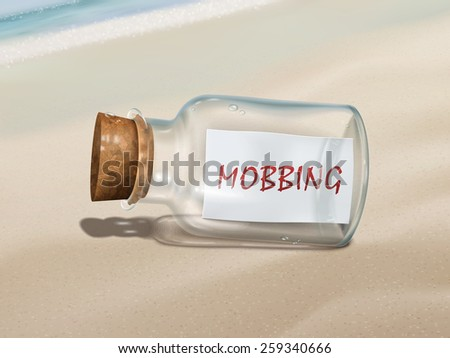 mobbing message in a bottle isolated on beautiful beach - stock photo