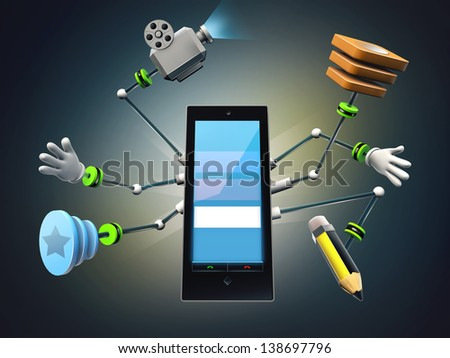 Mobil phone with multi task arms in a dark background. 3d render. - stock photo
