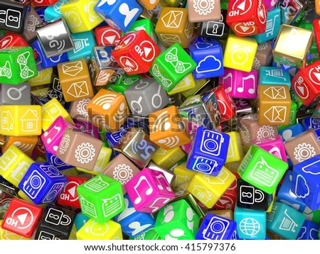 mobile app icons background. 3d rendering. - stock photo
