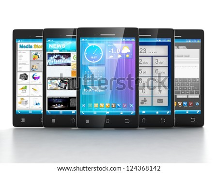Mobile applications. Group of mobile phones are frontally on a white background - stock photo