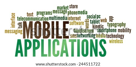 Mobile Applications in word collage - stock photo