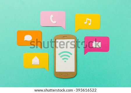 Mobile apps and tools for communication (chat, email, phone) and entertainment (music player, camera) on smartphone - stock photo