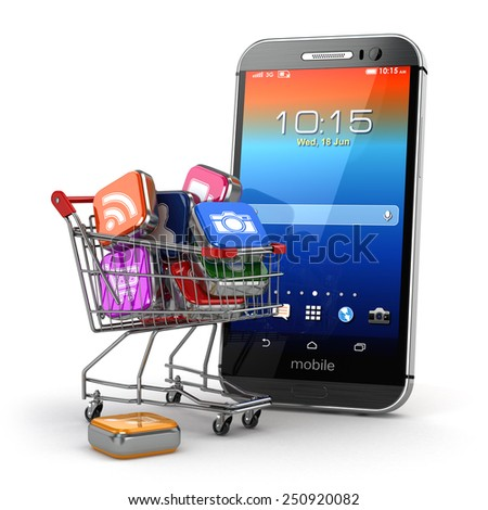 Mobile apps concept. Application software icons in shopping cart and smartphone. 3d - stock photo
