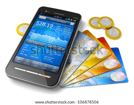 Mobile banking and finance concept: smartphone with stock exchange market application, group of color credit cards and golden Euro coins isolated on white background - stock photo
