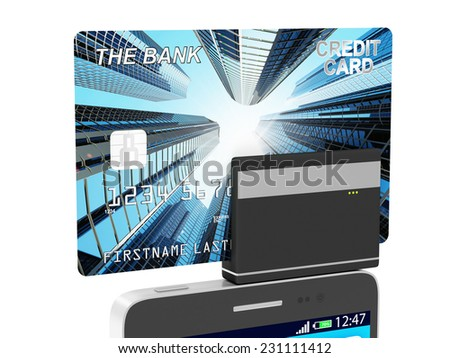 Mobile Banking and Payment Concept. Touchscreen Smart Phone with Credit Card Reader isolated on white background - stock photo