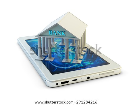 Mobile banking and remote payment concept, modern smartphone with bank building isolated on white background (My own design, 3d model and render) - stock photo