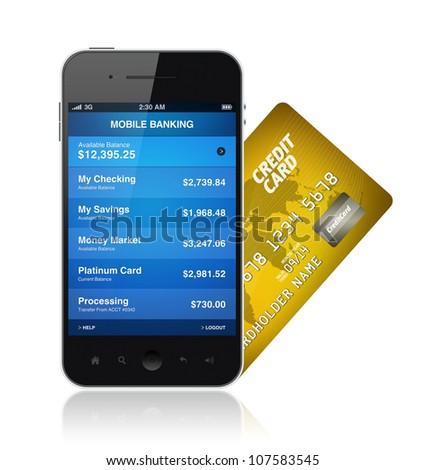Mobile banking application on a modern smartphone with plastic card. Illustration isolated on white.