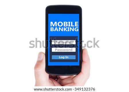 Mobile banking concept on smartphone screen or cellphone display