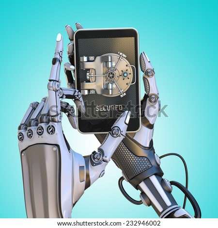 Mobile banking security design concept. Smartphone with door of safe holding with robot hands - stock photo