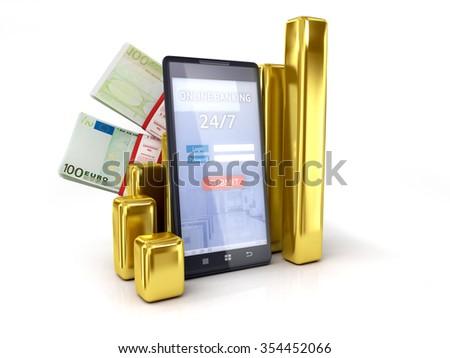 mobile banking tracking Euro exchange rates - stock photo
