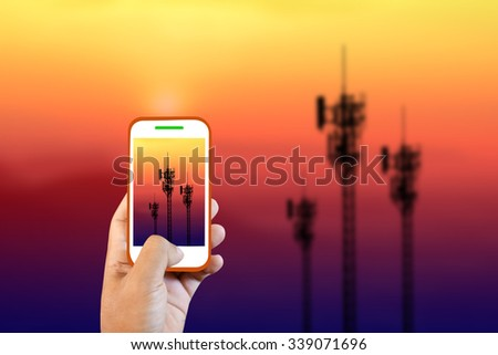 Mobile camera cell phone towers. - stock photo