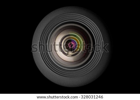 mobile camera lens on black background, macro view - stock photo