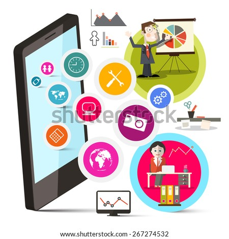 Mobile Cell Phone with Circle Colorful Icons and Business People Illustration - stock photo