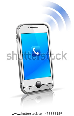 Mobile Cell Smart phone connection technology concept with reflection - raster version - stock photo