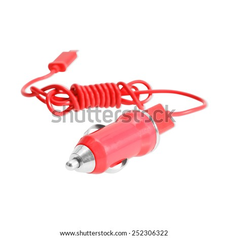 Mobile charger for car isolated on white. - stock photo