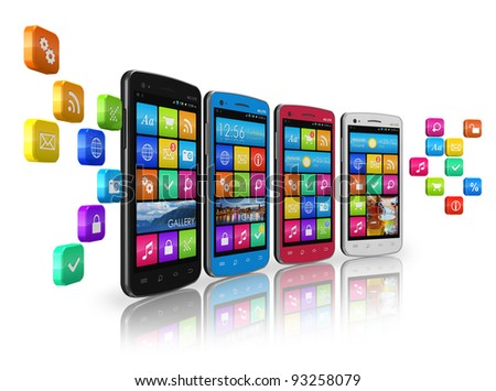 Mobile communications and social networking concept: row of touchscreen smartphones with cloud of application icons isolated on white reflective background - stock photo