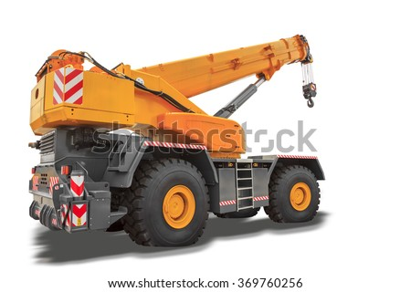 Mobile crane isolated on white background with clipping path - stock photo