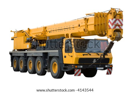 Mobile crane on white background, isolated, with clipping path. - stock photo