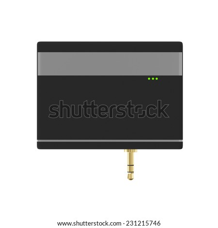 Mobile Credit Card Reader isolated on white background - stock photo