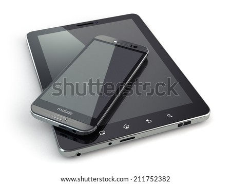 Mobile devices. Smartphone and tablet pc on white isolated background. 3d - stock photo