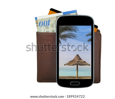 Mobile devise with wallet, money and credit card isolated on white - stock photo
