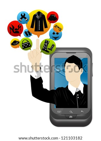Mobile E-Commerce and Online Shopping Concept Present by Smartphone With Businessman Pointing to Colorful Women Fashion Icon Isolate on White Background - stock photo
