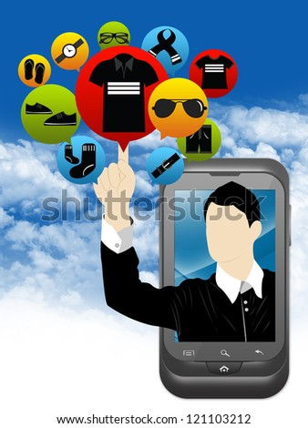 Mobile E-Commerce and Online Shopping Concept Present by Smartphone With Businessman Pointing to Colorful Men Fashion Icon in Blue Sky Background - stock photo
