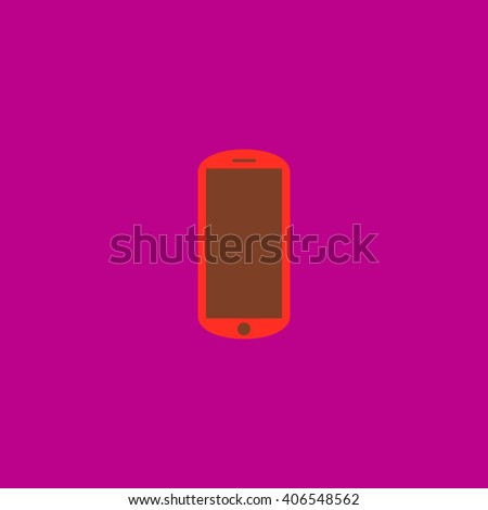 mobile Flat icon on color background. Simple colorful pictogram - stock photo