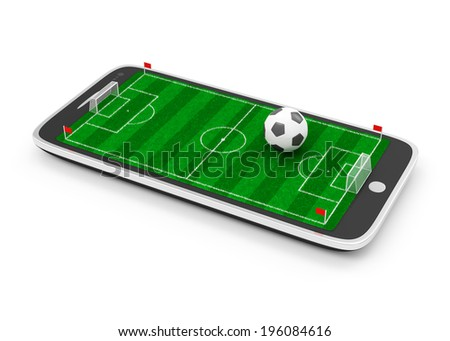 Mobile Football Concept. Soccer Field in Touchscreen Smart Phone with Soccer Ball isolated on white background - stock photo
