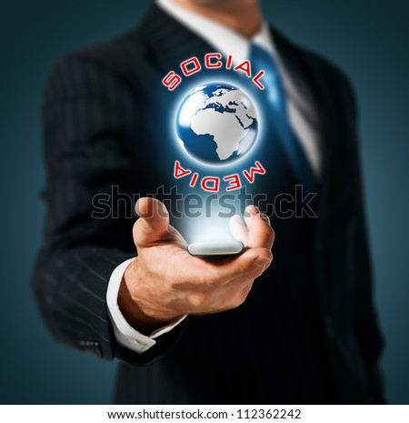 Mobile global social network - stock photo