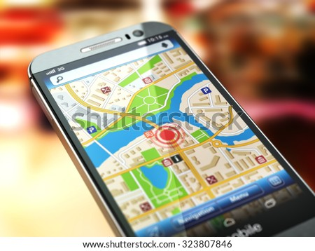 Mobile GPS navigation concept. Smartphone with city map on the screen. 3d - stock photo