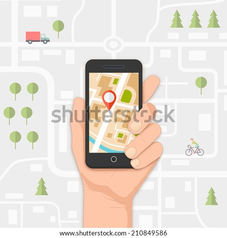 mobile gps navigation on mobile phone with map and pin illustration - stock photo