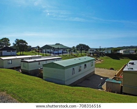Mobile Home At Caravan Site In Ireland 2017 With Blue Sky For Text Copy