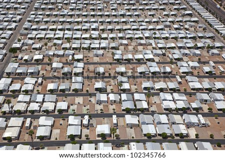 Mobile Home Park In The Arizona Desert