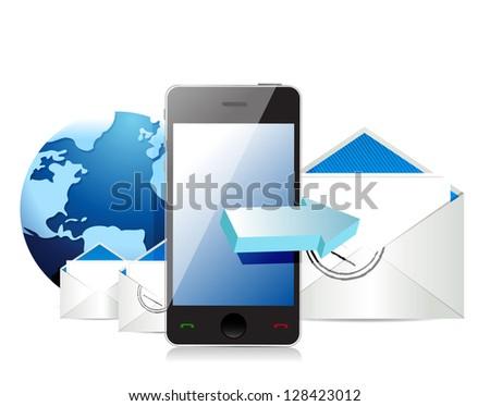 Mobile internet mail illustration design over white - stock photo