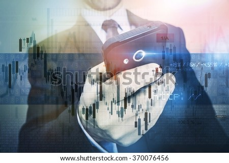 Mobile Investing Business Concept. Businessman Trading Stocks Using His Mobile Device. Men with Smartphone Working Remotely. - stock photo
