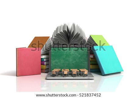 Mobile knowledge school or college education business office work and electronic media concept laptop or notebook with stack of books isolated on white 3d render