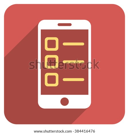 Mobile List long shadow glyph icon. Style is a flat symbol on a red rounded square button. - stock photo