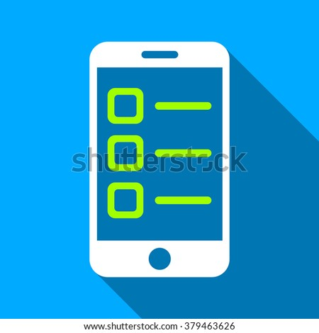 Mobile List long shadow raster icon. Style is a flat light symbol with rounded angles on a blue square background. - stock photo