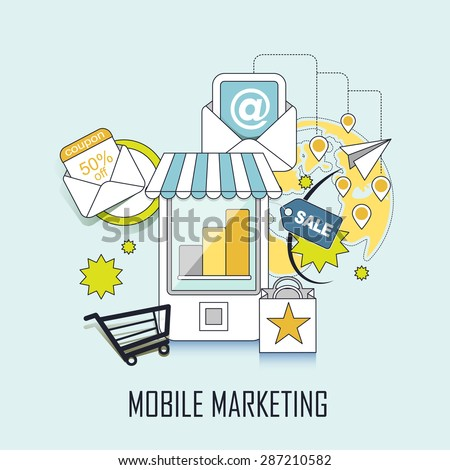 mobile marketing concept: shopping related elements in line style - stock photo