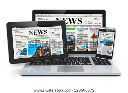 Mobile media devices concept: office laptop, tablet PC computer and black glossy touchscreen smartphone with internet web business news on screen isolated on white background with reflection effect - stock photo