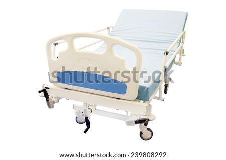 mobile medical bed isolated under the white background - stock photo