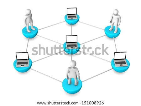 Mobile network with laptops and white toons. - stock photo