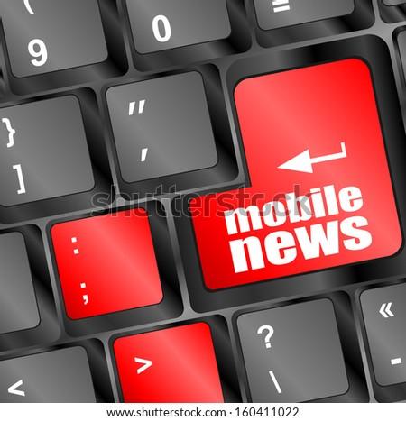 mobile news button on computer keyboard key, raster - stock photo