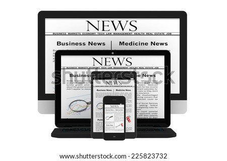 Mobile News Concept. Desktop computer, notebook, tablet pc and mobile phone with news on a white background - stock photo