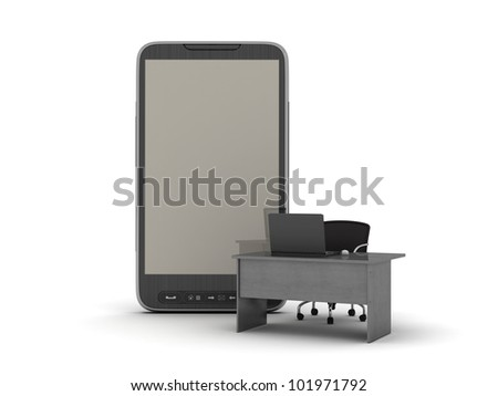 Mobile office - concept illustration - stock photo